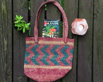 90s Woven Market Bag | African Sisal Tote | Woven Beach Tote | Neutral Woven Beach Tote