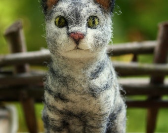 felted grey cat with stripes and green eyes