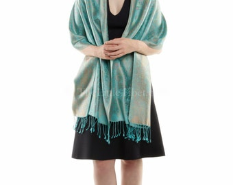 Silk Pashmina shawl/scarf/stole/wrap - 100% silk in light teal for summer, winter, evening, party, all occasions  (AT38). Free UK Shipping