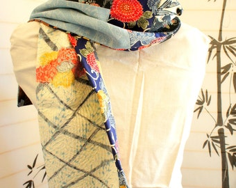 Japanese silk kimono hand made scarf made from new material **S78**