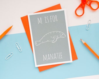 Manatee Card / Animal Alphabet Card / Animal Alphabet / Blank Greeting Card / Notecard / Animal Card / Manatee Birthday Card / Sea Cow