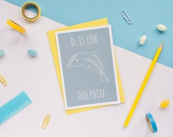 Dolphin Card / Dolphin Notecard / Animal Alphabet Card / Animal Alphabet / Blank Greeting Card / Notecard / Animal Card / Dolphin / Sea Card