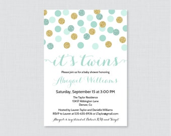Twins Baby Shower Invitation Printable or Printed - Mint Twins Shower Invites with Gold Glitter Polka Dots - Mint Twins Invites 0008-m