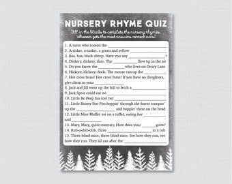 Winter Baby Shower Nursery Rhyme Quiz Baby Shower Game Printable - Instant Download - Black Rustic Winter Baby Shower Game - 0039-K