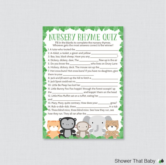 Baby Shower Theme Quiz ~ Jungle theme baby shower nursery rhyme quiz game printable