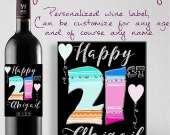 Personalized 21st Birthday Gift Custom Wine Label.  Custom 21st Birthday Wine Label. Personalized Wine Label. 21st Birthday Gift. Ships Free