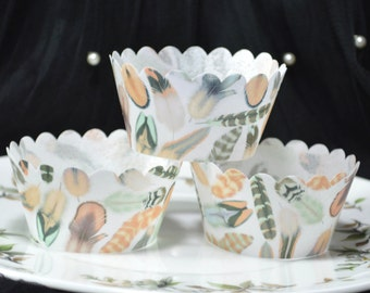 Edible Cupcake Wrappers Feathers Chocolate Orange Chintz x 12 Wafer Paper Wedding Cupcake Decorations Mint Wild One Birthday Fairy Cake RTD