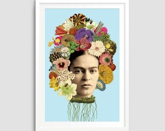 Frida Kahlo Art Print - Frida Poster, Vintage Mixed Media Collage, Feminist Art, Botanical Flowers, Mexican Art, Wall Art, Apartment Decor,
