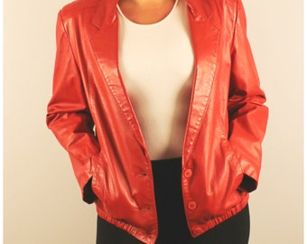Vintage leather jacket red leather button front jacket 1980s 80s medium large Bagatelle