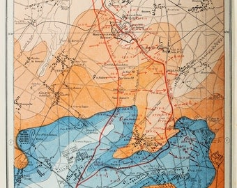Antique Military Map : The Western Front, Loos & Hohenzollern - WWI, Great War, First World War. Harmsworth c. 1919