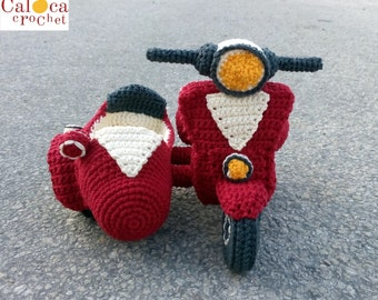 Sidecar Vespa PATTERN amigurumi crochet, by Caloca Crochet