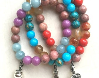 Set of 3 Gemstone Bracelets 8mm Size: S(6 1/2 Inches-16.5cm)
