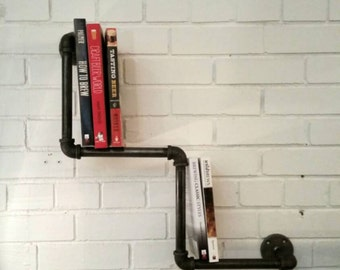 Rustic industrial pipe bookcase | industrial pipe bookshelf