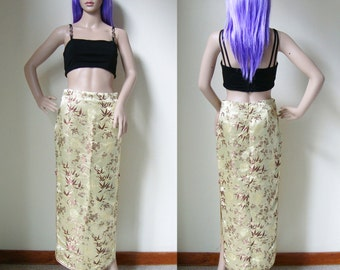 CHINESE SKIRT -maxi, qipao, cheongsam, asian, traditional, sexy, open side, golden, floral pattern, embroidery, long, party, costume-