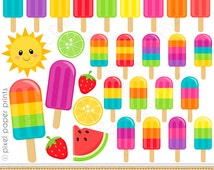 Summer Popsicles Clipart - Digital Clip Art - Popsicles - Personal and commercial use