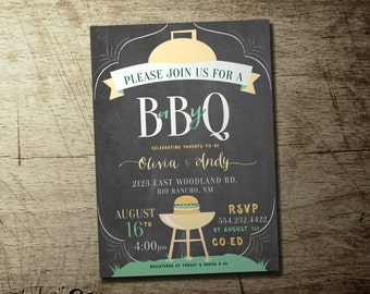co-ed BBQ baby shower invitation, boys or girls baby shower barbeque, High quality digital printable file, Barbecue baby shower