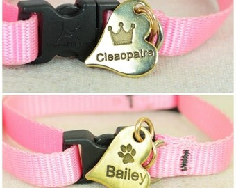 Small Dog Tag, Pet ID Tag, Heart Shaped Tag, Solid Brass, Customized, Personalized, Pet Tags, Dog Tag, Pet Tag, Dog Collar Tag, Brass Tag