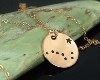 14k Rose Gold Filled Big Dipper Necklace, Rose Gold Necklace, Rose Gold, Constellation, Star Jewelry, Zodiac Pendant,  Rose Gold, Big Dipper