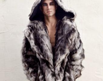 "Burning Man Men's Faux Fur ""Vandal"" coat with zip off hood in ""Gray Wolf"""