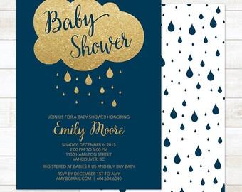 baby boy shower invitation, printable navy blue gold glitter rain cloud rain drops shower baby boy digital invite customizable