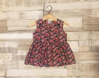 Rose Pattern Baby Girls Dress | Floral Dress | Floral Print Dress | Baby Girls Pinafore | Floral Pinafore | Navy Floral Pattern | Baby Dress