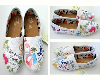 Bride's Love Story Wedding Shoes  Hand Painted Shoes Bride's Wedding Shoes Unique Custom TOMS Custom TOMS  Painted Wedding Shoes