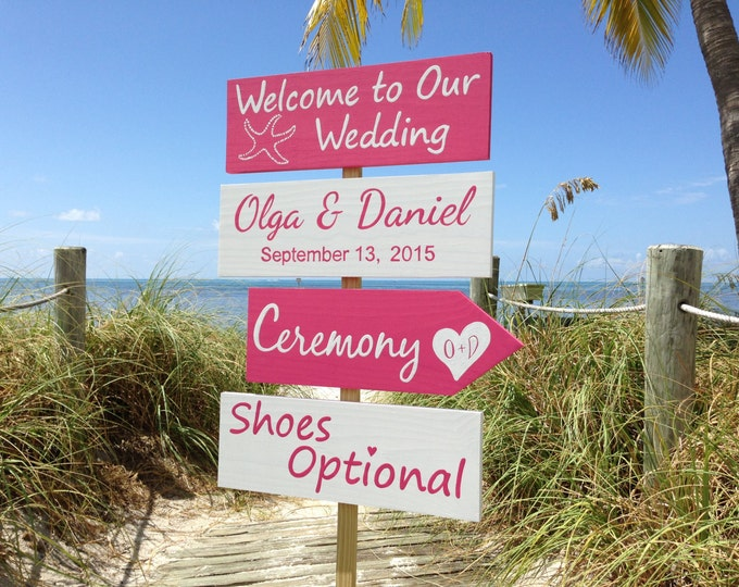 Starfish Welcome Wedding Sign, Ceremony Shoes Optional Signs, Coral Pink Wedding Decor, Starfish Wedding