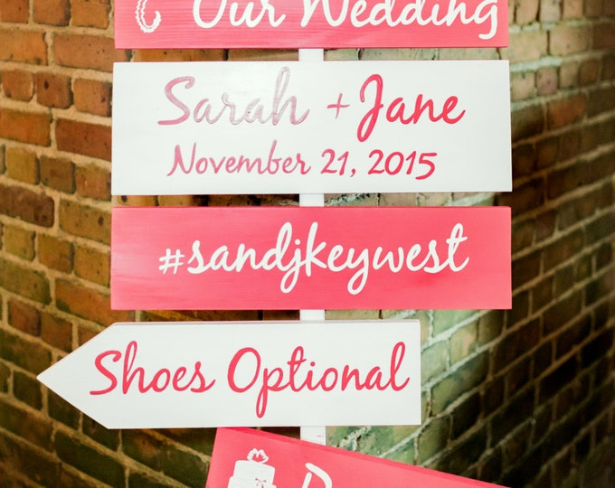 Coral Wedding Welcome Sign, Beach Wedding Decor, Shoes Optional Ceremony Sign