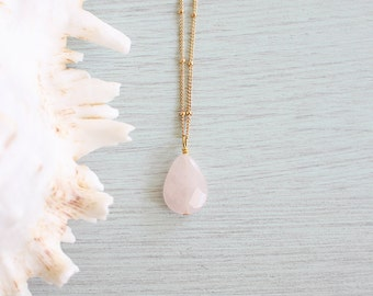 Rose Quartz Faceted Teardrop Necklace - Pale Pink Rose Quartz Necklace - Natural Rose Quartz Necklace - January & May Birthstone B1