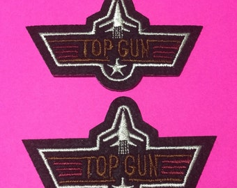 Iron on Sew on Patch:  Pair of Top Gun patches