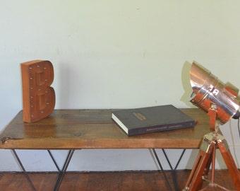 Dark Stain Industrial Coffee Table Mid Century Modern Style Hairpin Legs