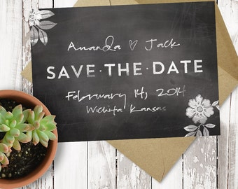 Premade Save the Date - Printable - Chalkboard - Script Text - Personalized - 5x7