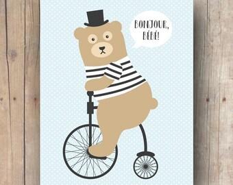 printable bear wall art print for circus animal style nursery or kids bedroom, bonjour bébé
