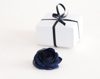 Navy Blue Hair Flower, Navy Blue Rose Flower For  Bride, Bridesmaids Hair Flower, Bridal Hair Flower, Dark Blue Hair Flower Clip