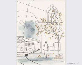 Autumn tree art, ink and watercolour drawing, Christchurch tram NZ souvenir, autumn decor, autumn leaves, fall colours, not a print