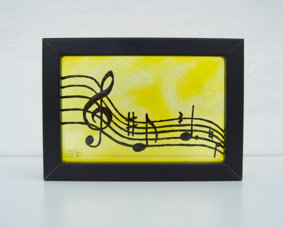 Music - Musical notes - Treble clef - Glass painting framed - Hand painted - Wall hanging - Yellow and black - Musicians - Ready To Ship