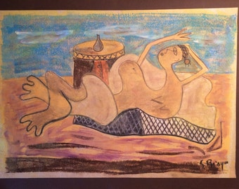 Old Pastel & Chalk Cubist Drawing Modernist Painting Signed Braque Like Picasso