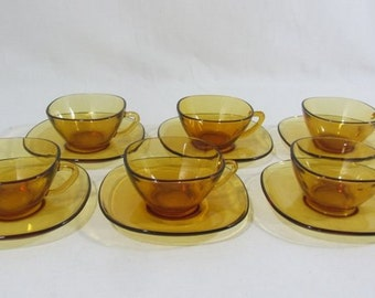 6 Vereco cups, tea / coffee cups and saucers, tempered amber glass, French vintage, mid century modern, 1970's kitchenware,