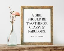 Coco Chanel Quote, Fashion Designer Art, Modern Wall Art, Coco Chanel Print, French Quote Print, Gift For Her, Typography Wall Art  - PT0056