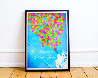 Up - Adventure Is Out There Typography Art Print - Ellie and Carl - Up Pixar - Up Disney (Available In Many Sizes)