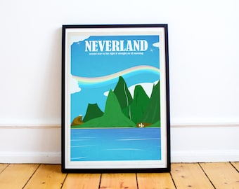 Neverland - Peter Pan - Disney Travel Poster - Poster Print - Disney Art - Wall Art Poster Print (Available In Many Sizes)