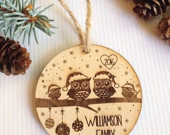 Personalized Christmas ornament, engraved Christmas ornament, tree decoration,owls,love, christmas tree decoration, christmas gift, wedding