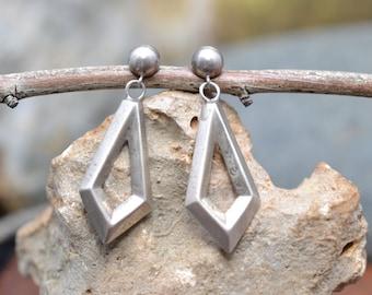 Heavy Solid Sterling Silver Diamond Geometric Earrings