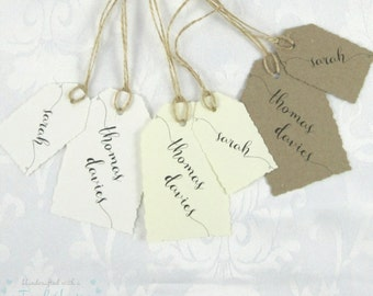 Handmade Rustic Charm Name Tags, Tags, Place Card, Kraft, Ivory or White