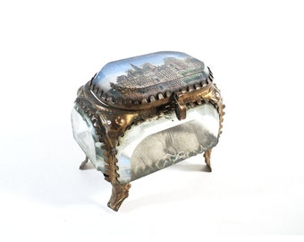 French Ormolu Box, Beveled Glass Jewelry Casket, Trinket Box, Engagement Ring Box Napoleon III, Hôtel de Ville Paris France, Pink Box