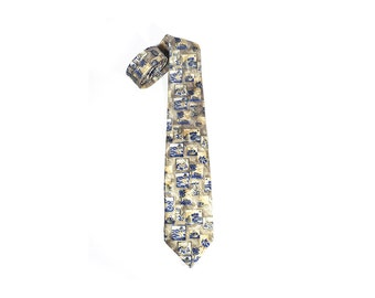 Blue Yellow Necktie Sergio Vitti Tie, Colorful Country-Style Retro Neck Tie, 100% Silk, Gift for Men Him Made in France