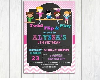Gymnastic Birthday Invitation Chalkboard Printable, Gymnastic Party, Gymnastic Personalized
