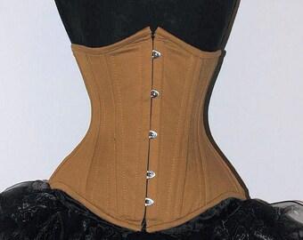 Steel Corset Cotton Underbust Waist Training Double Steel Boned Shapewear Size XXXS-6XL