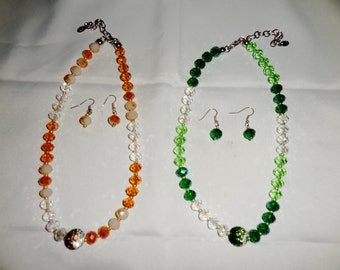 1. Orange and White Cut Glass Necklace with Earrings       2. Green and White Cut Glass Necklace with Earrings