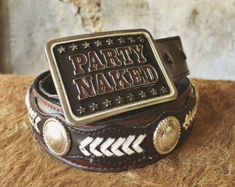 Party Naked vintage buckle & concho belt
